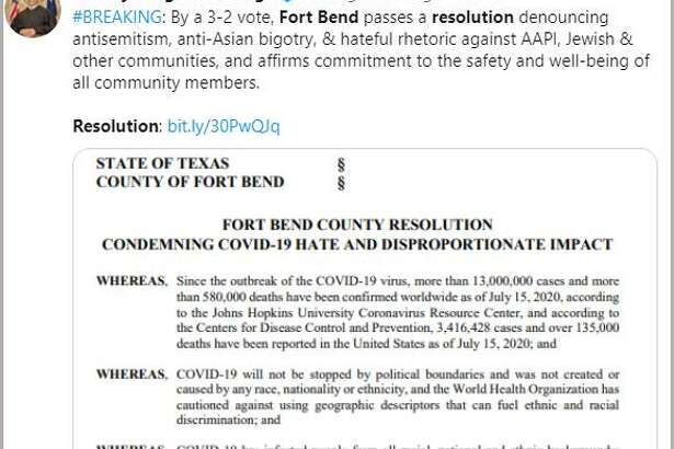 Fort Bend County Judge KP George posted an announcement on Twitter that the COVID-19 Anti-Hate Resolution was approved by a 3-2 votes recently. The measure immediately drew a flurry of posts to social media by residents. We've put together a slide show of some the social media posts debating the issues related to the resolution. Click through the images and then share your opinion to your favorite social media platform. We want to hear from you.