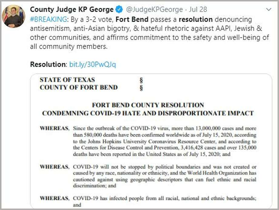 Fort Bend County Judge KP George posted an announcement on Twitter that the COVID-19 Anti-Hate Resolution was approved by a 3-2 votes recently. The measure immediately drew a flurry of posts to social media by residents. We've put together a slide show of some the social media posts debating the issues related to the resolution. Click through the images and then share your opinion to your favorite social media platform. We want to hear from you. Photo: Office Of Judge KP George