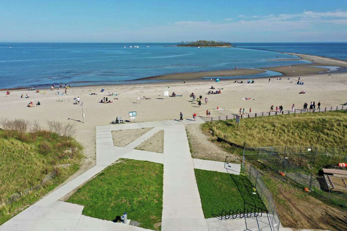 Milford beaches including Silver Sands May 5, 2020, during a limited gathering and social distancing enforcement during the COVID-19 pandemic in Milford, Conn.