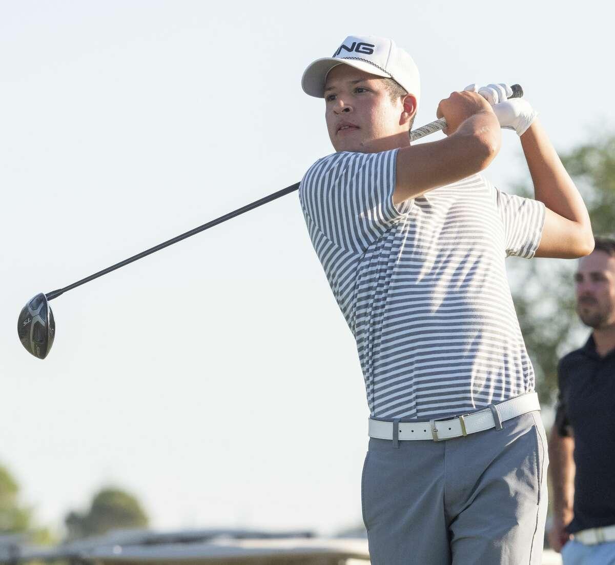 Sebastian Cruz follows his shot 08/01/2020 during the second round of the Midland Men's City Golf Championship at Hogan Park Golf Course. Tim Fischer/Reporter-Telegram