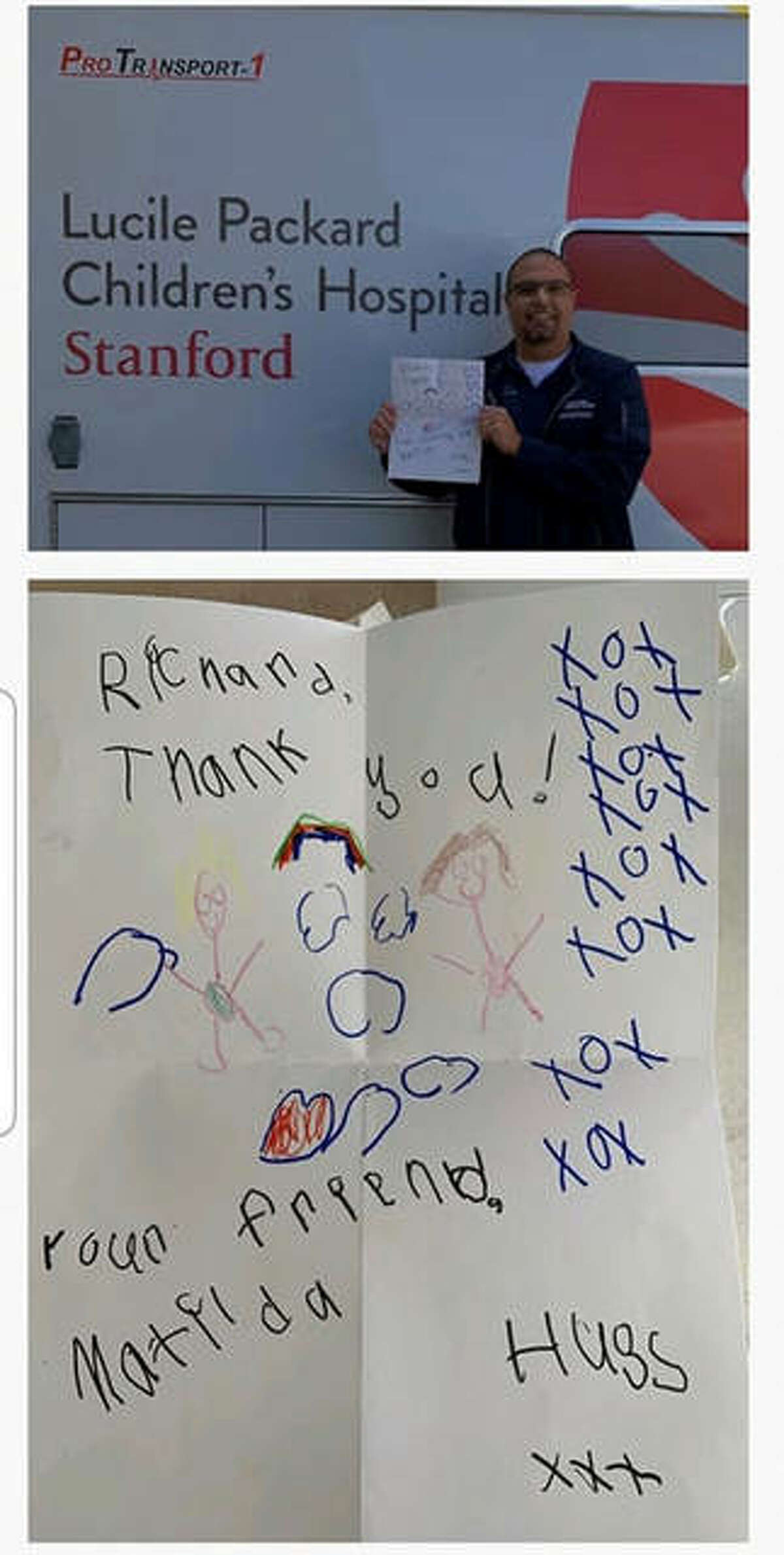Matilda Kassel created the art, bottom image, and sent it to a respiratory therapy unit at Lucile Packard Children's Hospital in Palo Alto, CA, top image, as part of the cheer campaign the 5-year-old Glen Carbon resident has undertaken since March.