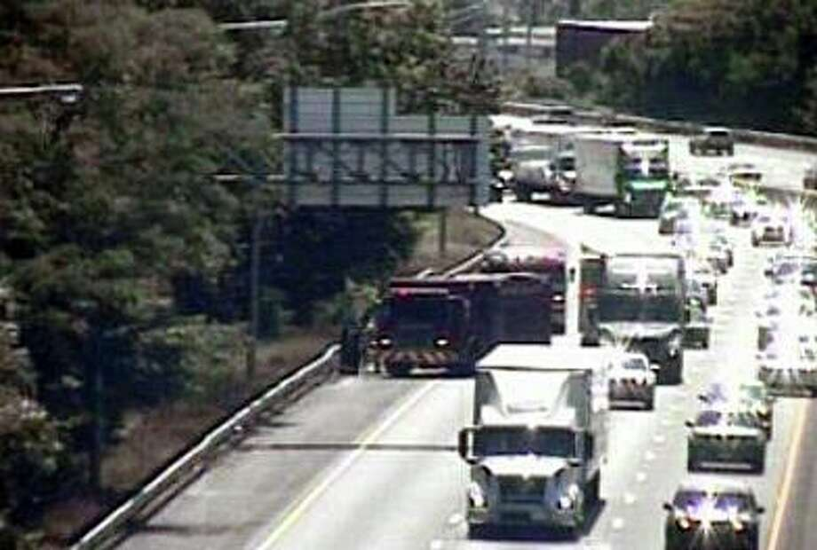 A CTDOT camera showing fire units on scene for a brush fire in Stratford, Conn., on Saturday, Aug. 1, 2020. Photo: Contributed Photo