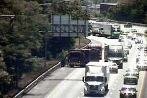 A CTDOT camera showing fire units on scene for a brush fire in Stratford, Conn., on Saturday, Aug. 1, 2020.