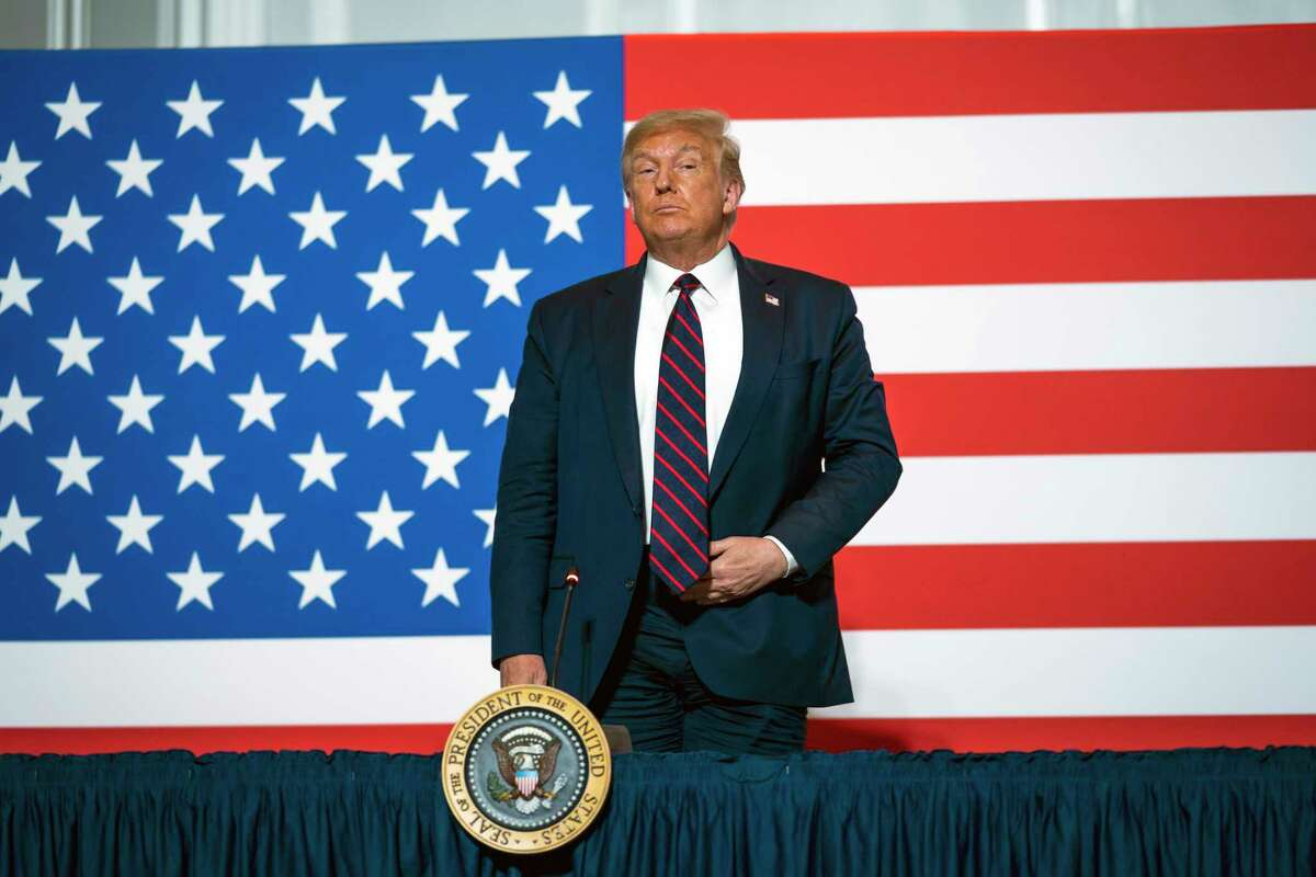 President Donald Trump during a visit to the headquarters of the American Red Cross in Washington on Thursday, July 30, 2020. Trump floated the idea of delaying the election in a tweet on Thursday, risking the erosion of the most important ingredient in a democracy a€?
