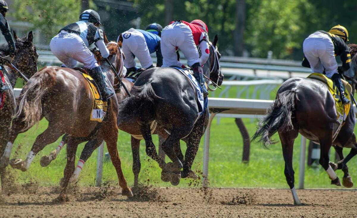 Vexatious with jockey Jose Lezcano duels with Midnight Bisou with Ricardo Santana Jr. to the wire and wins the 73rd running of The Personal Ensign presented by NYRA Bets Saturday Aug. 1, 2020 at the Saratoga Race Course in Saratoga Springs, N.Y. Photo by Skip Dickstein/Special to the Times Union.