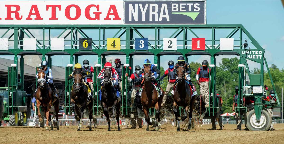 The start of the 73rd running of The Personal Ensign presented by NYRA Bets won by Vexatious ridden by Jose Lezcano Saturday Aug. 1, 2020 at the Saratoga Race Course in Saratoga Springs, N.Y. Photo by Skip Dickstein/Special to the Times Union.