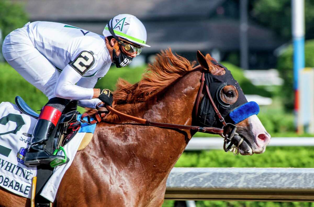 Improbable with jockey Irad Ortiz Jr. up wins the 93rd running of The Whitney Saturday Aug. 1, 2020 at the Saratoga Race Course in Saratoga Springs, N.Y. Photo by Skip Dickstein