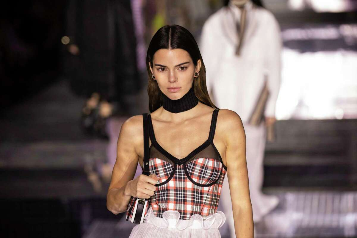 Model Kendall Jenner wears a creation by designer Burberry at the Autumn/Winter 2020 fashion week runway show in London, Monday, Feb. 17, 2020. (Photo by Vianney Le Caer/Invision/AP)