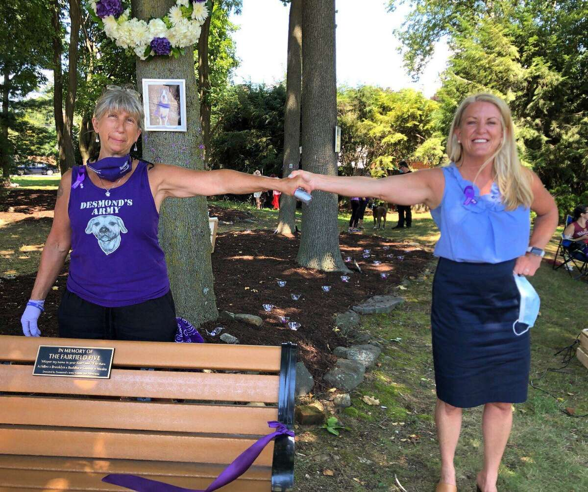 A dedication ceremony for a bench, memorializing the Fairfield Five, was recently held in Fairfield, Conn.