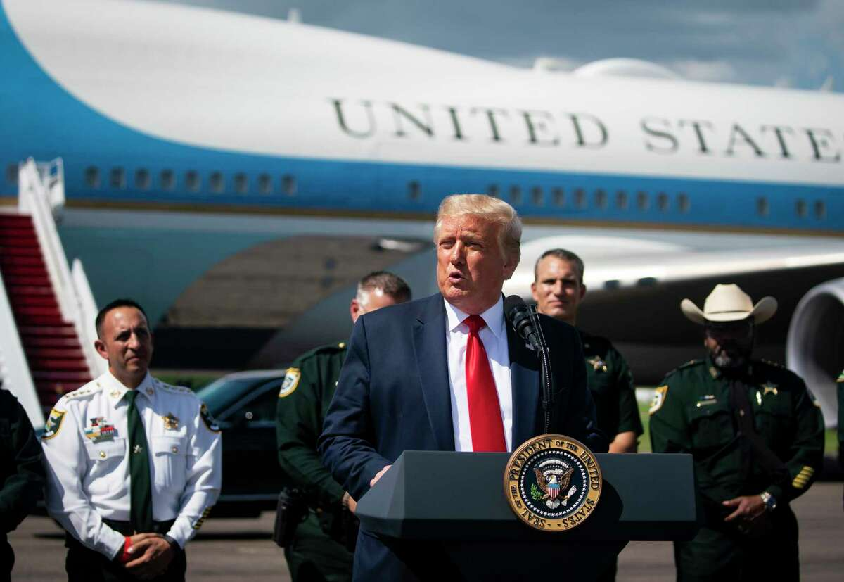 President Donald Trump speaks at a campaign coalitions event with Florida Sheriffs, on the tarmac of Tampa International Airport, in Tampa, Fla., on Friday, July 31, 2020. (Al Drago/The New York Times)