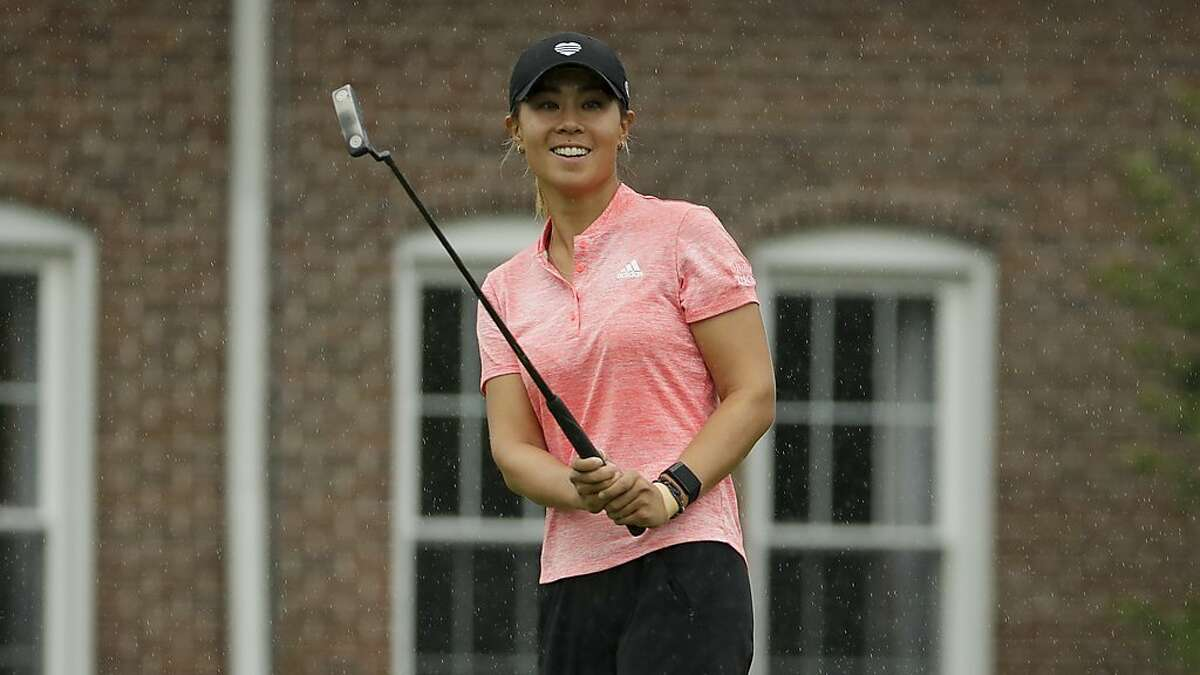 Danielle Kang reacts to nearly making a long putt in the LPGA Drive On Championship in Ohio.