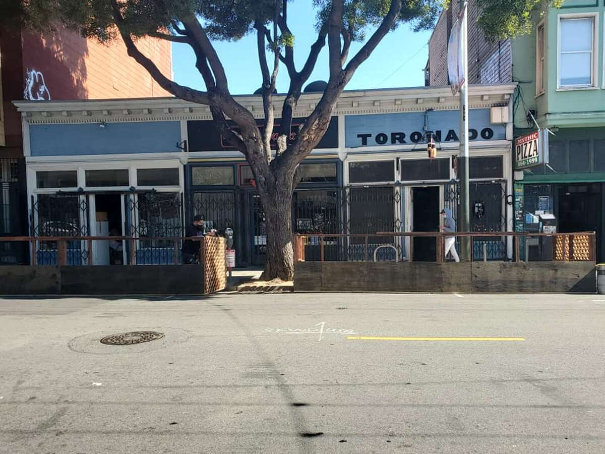 Two parklets are taking shape outside bar favorite, Toronado - and neighboring Berliner Berliner - as the two businesses prepare an outdoor seating area for customers.