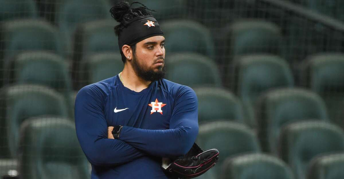 Astros pitcher, Roberto Osuna (54) watches batting practice from behind the cage during Astros Summer Camp at Minute Maid Park on Thursday, July 16, 2020 in Houston, TX. (Photo by Ken Murray/Icon Sportswire via Getty Images)