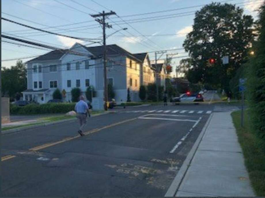 Darien Police posted a photo from the scene where they say shots were fired from a vehicle on West Avenue in Darien Saturday evening. No injuries are being reported. Photo: Darien Police