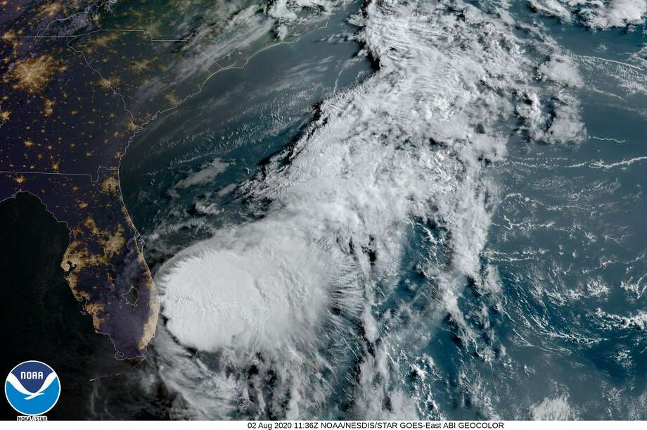 Satellite image of Tropical Storm Isias off the southeastern coast of Florida Sunday, Aug. 2 Photo: Contributed /National Oceanic And Atmospheric Administration
