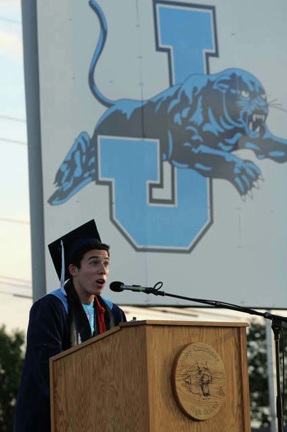 Grant Morgan gives the commencement address on behalf of his fellow Jerseyville High School graduates.