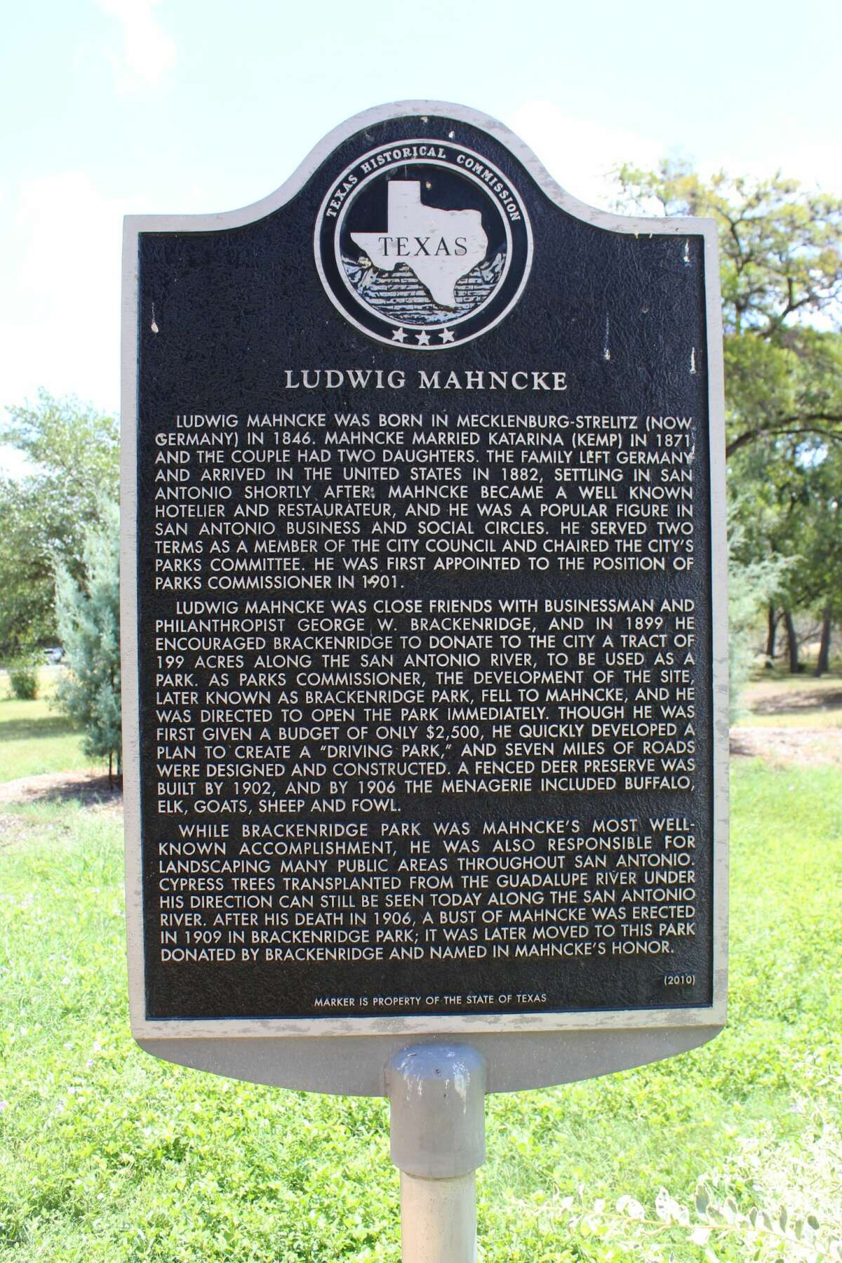 The midtown park was named in honor of Ludwig Mahncke, who served as San Antonio's park commissioner.