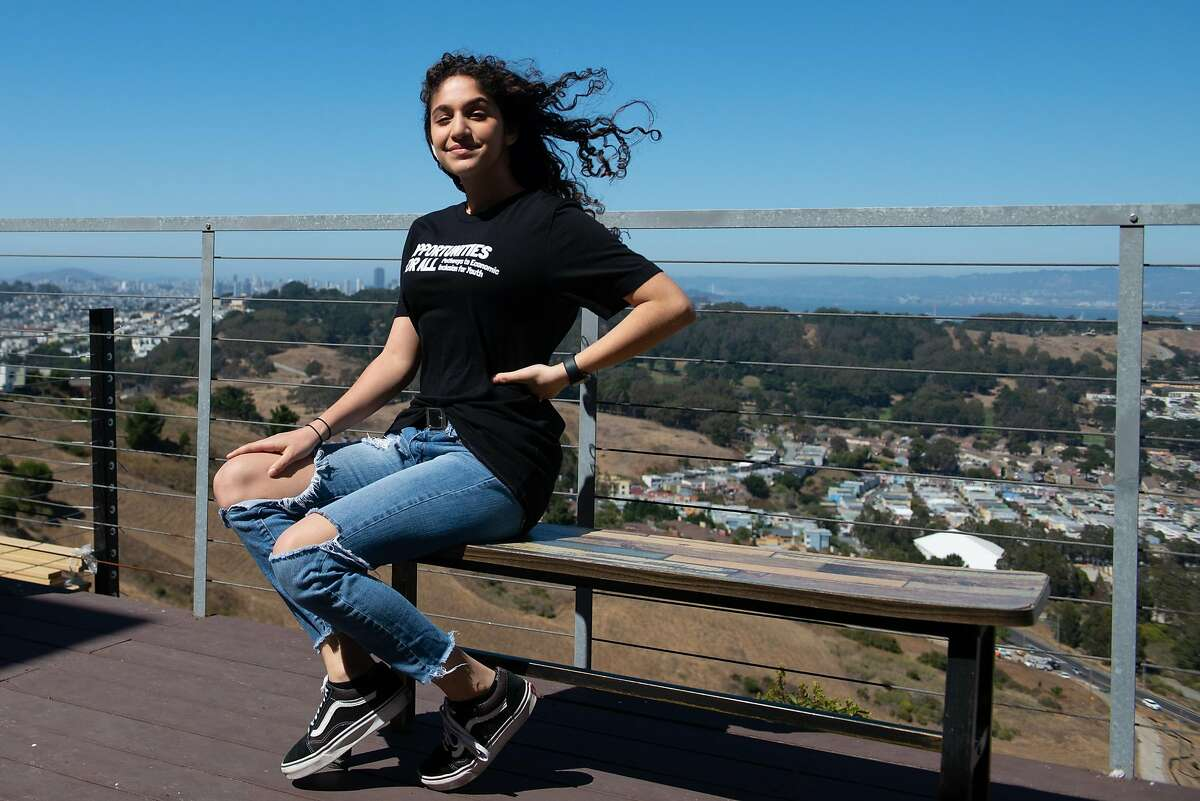 India Brar, an intern participant in Mayor Breed's paid youth internship program, Opportunities for All in the Public Defender's Office, poses for a portrait at her home on July 31, 2020 in Daly City, Calif.