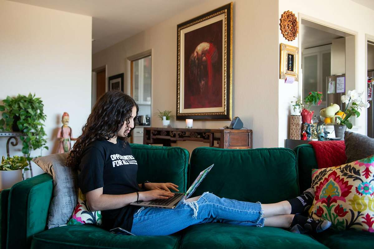 India Brar, collaborates on a presentation she is working on for Mayor Breed's paid youth internship program, Opportunities for All in the Public Defender's Office, at her home on July 31, 2020 in Daly City, Calif.