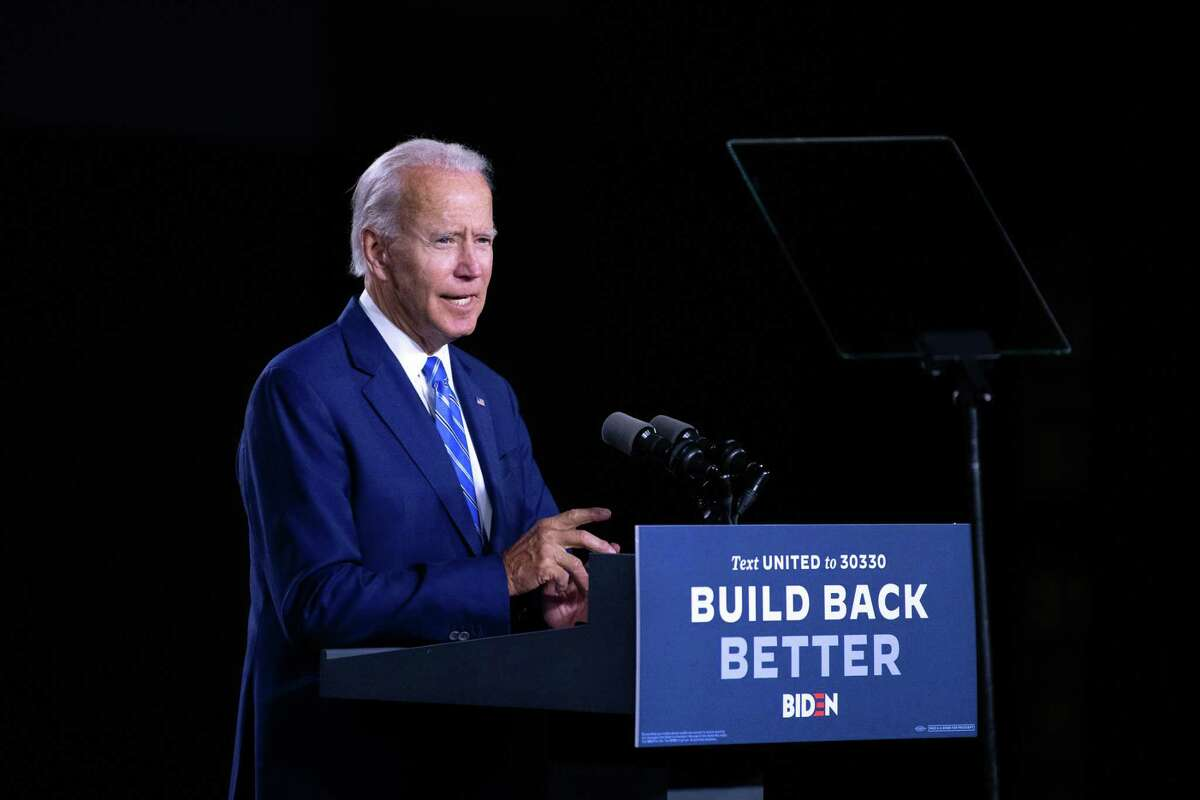 Former Vice President Joe Biden, the Democratic Party's presumptive presidential nominee, speaks in Wilmington, Del. on Tuesday, July 14, 2020. Biden announced a new plan to spend $2 trillion over four years to significantly escalate the use of clean energy in the transportation, electricity and building sectors, part of a suite of sweeping proposals designed to create economic opportunities and build infrastructure while also tackling climate change. (Kriston Jae Bethel/The New York Times)