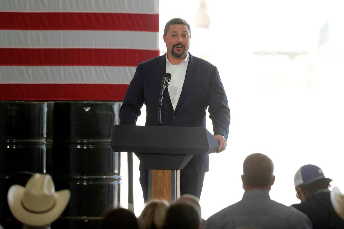 Double Eagle Energy co-CEO Cody Campbell make remarks before introducing President Donald Trump who made remarks about American energy production during a visit to the Double Eagle Energy Oil Rig, Wednesday, July 29, 2020, in Midland, Texas. (AP Photo/Tony Gutierrez)