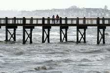 The fishing pier at Walnut Beach in Milford on April 30, 2020.