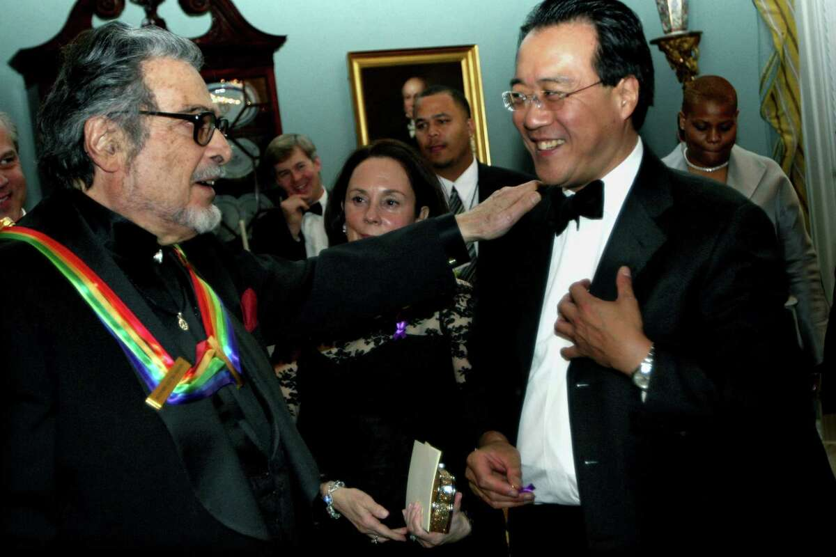 Kennedy Center Honors recipient Leon Fleisher, left, visits with Yo-Yo Ma in 2007.