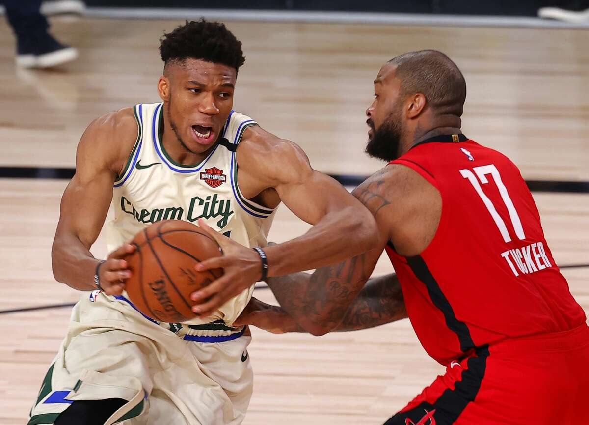 P.J. Tucker and the Rockets got the best of reigning MVP Giannis Antetokounmpo and the NBA-best Bucks on Sunday night to move to 2-0 in the season's restart.