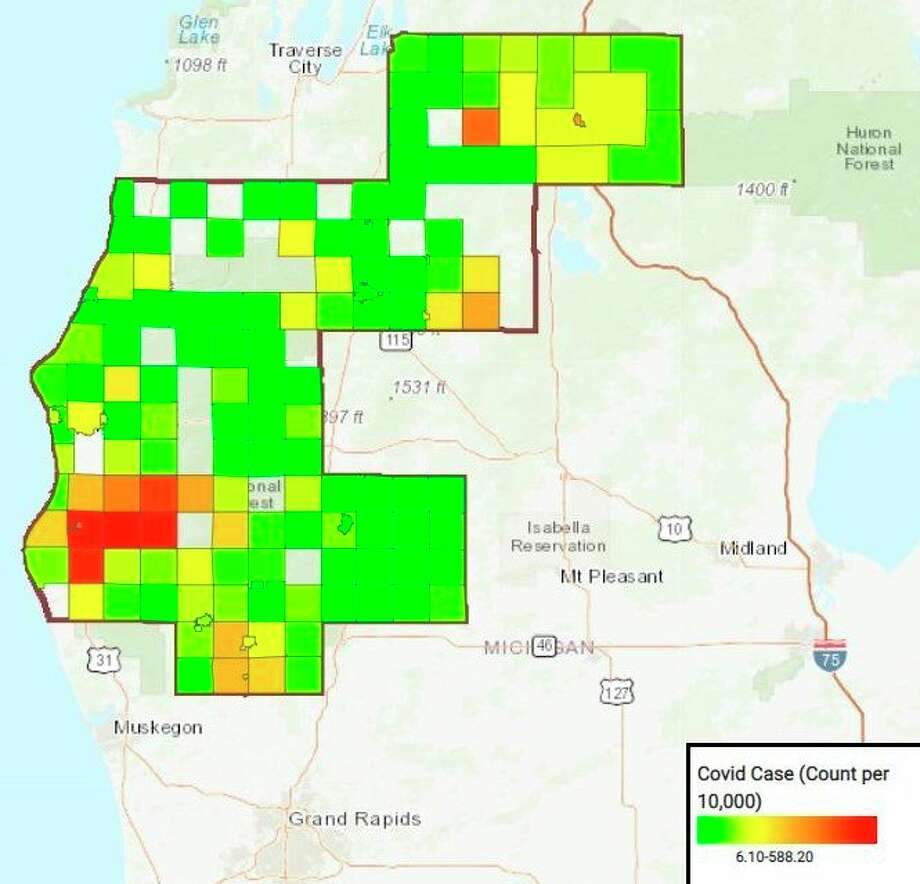 This District Health Department #10 heat map shows confirmed and probable positive COVID-19 cases within the region. Darker areas, such as red and orange, are associated with higher rates of positive cases while lighter areas, such as green and yellow are associated with lower rates of positive cases. This map shows rates per 10,000 people so if an area is red, it does not mean there are 243.9 positive cases in that area, but rather 2.439% of the population within that area has tested positive for COVID-19. Areas that are not highlighted with any color do not currently have positive cases. (Courtesy image)