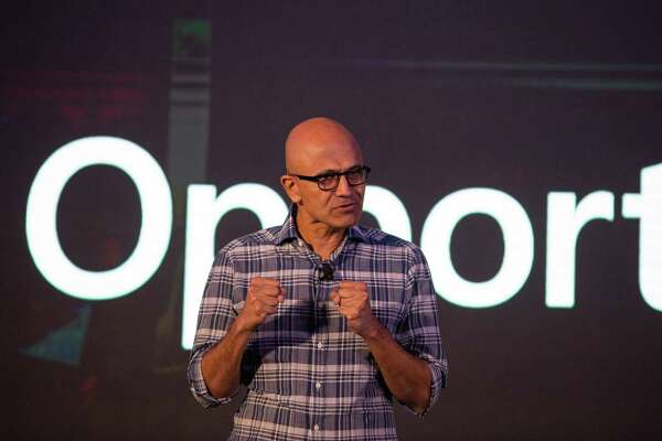 Satya Nadella, chief executive officer of Microsoft, speaks during the Future Decoded Tech Summit in Bengaluru, India, on Feb. 25, 2020.