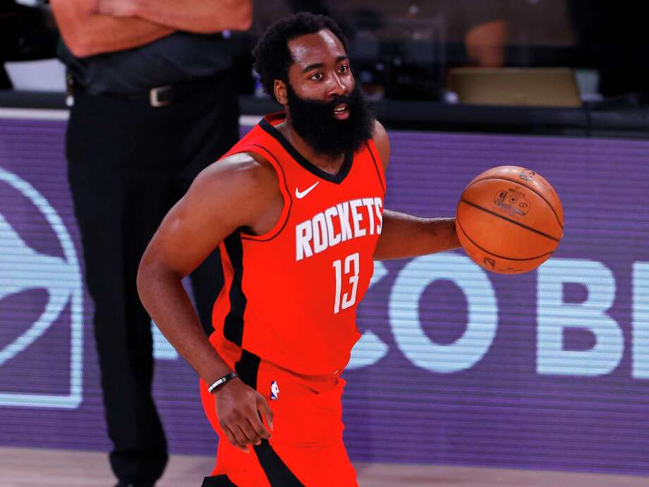 PHOTOS: More from the Rockets' win over the Bucks on Sunday night The Rockets' James Harden brings the ball up the court against the Milwaukee Bucks on Sunday, Aug. 2, 2020 at The Arena at ESPN Wide World of Sports Complex. Photo: Mike Ehrmann, Getty Images / 2020 Getty Images