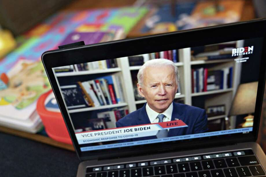Former Vice President Joe Biden, presumptive Democratic presidential nominee, speaks during a virtual event on April 13, 2020. Photo: Bloomberg Photo By Andrew Harrer. / © 2020 Bloomberg Finance LP