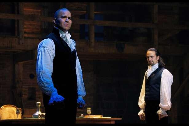 Christopher Jackson, left, and Lin-Manuel Miranda in 'Hamilton.'