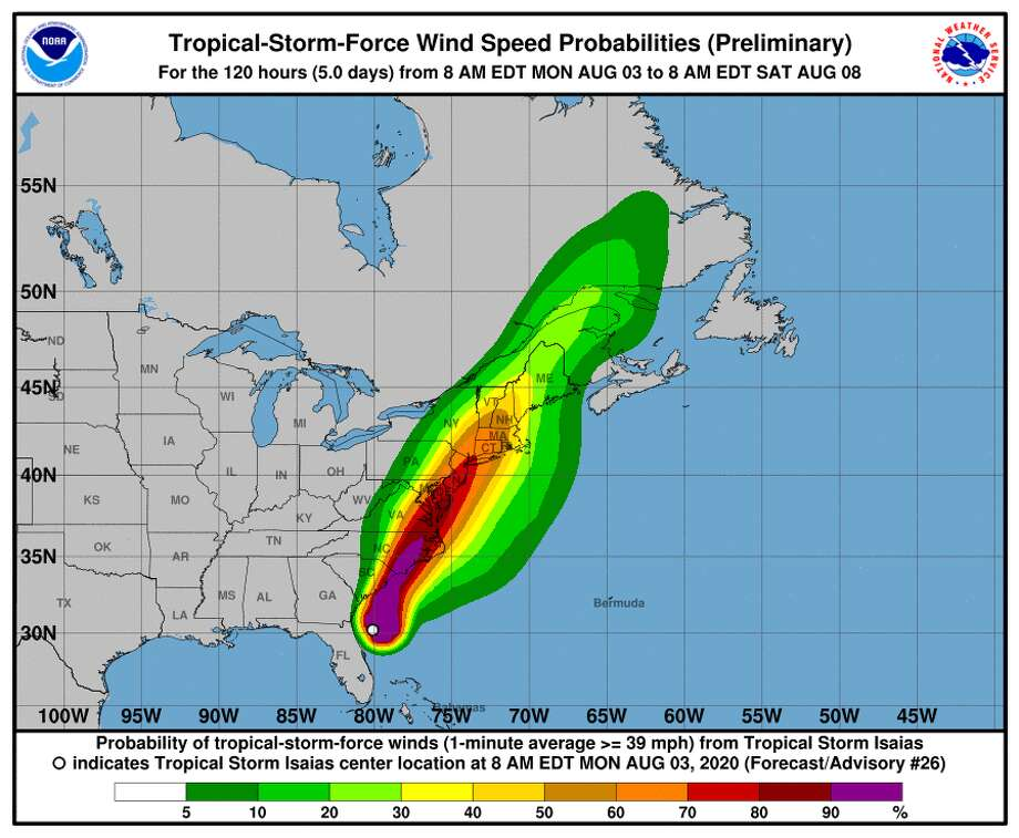 Wind speed probabilities for Isaias. Photo: Nhc.noaa.gov
