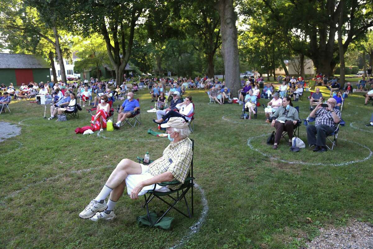 A safe-distanced crowd enjoyed the Fairfield Museum and History Center's Jazz Friday concert on July 31, 2020, in Fairfield, Conn.