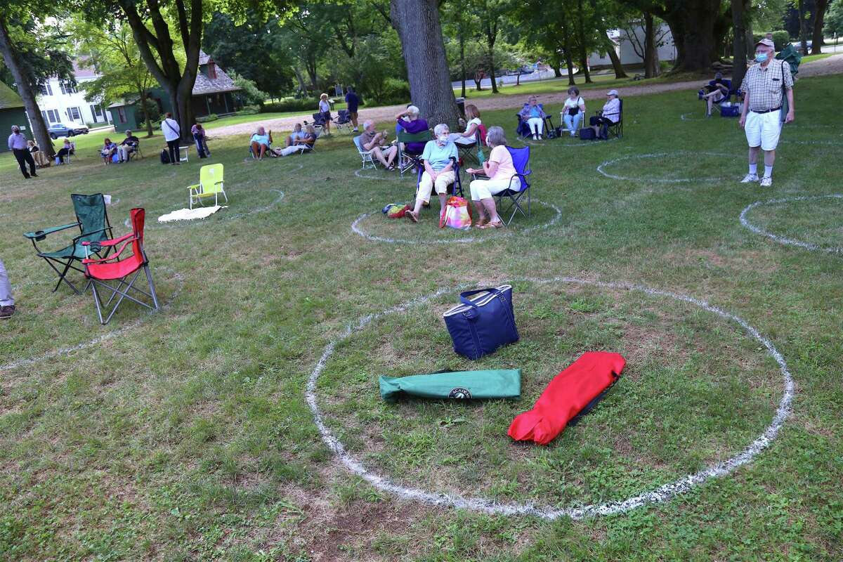 Safe circles were marked for distance at the Fairfield Museum and History Center's Jazz Friday concert on July 31, 2020, in Fairfield, Conn.
