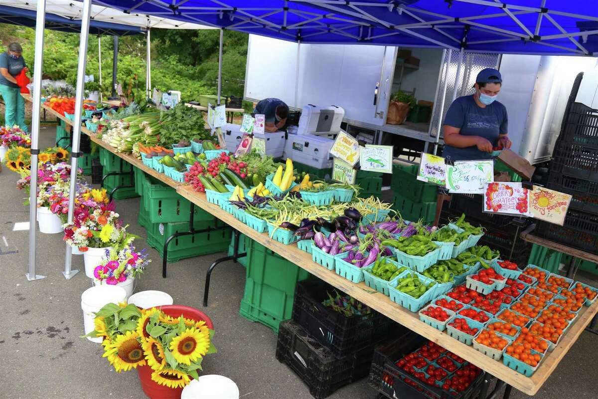 Some of the bounty of Riverbank Farm in Roxbury at the Westport Farmer's Market on Thursday, July 30, 2020, in Westport, Conn.