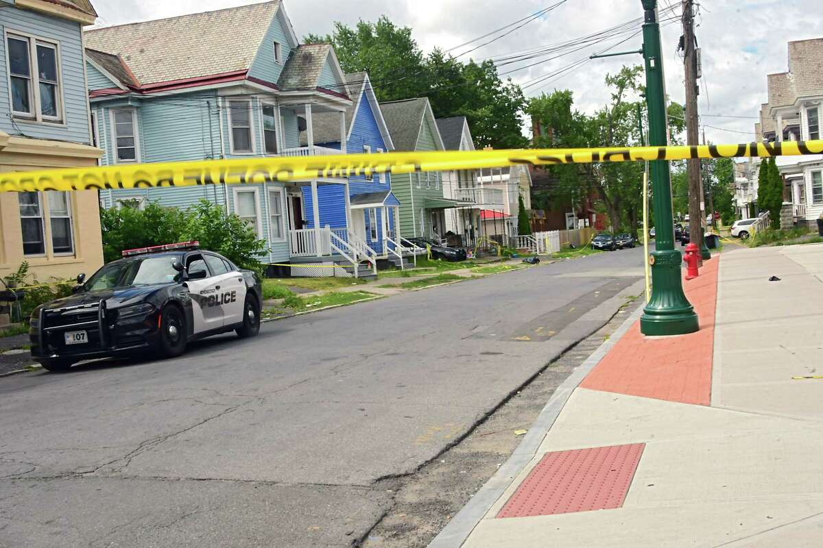 The entrance to Sixth Ave. where a woman was killed Sunday night is closed off on Monday, August, July 3, 2020 in Schenectady, N.Y. (Lori Van Buren/Times Union)