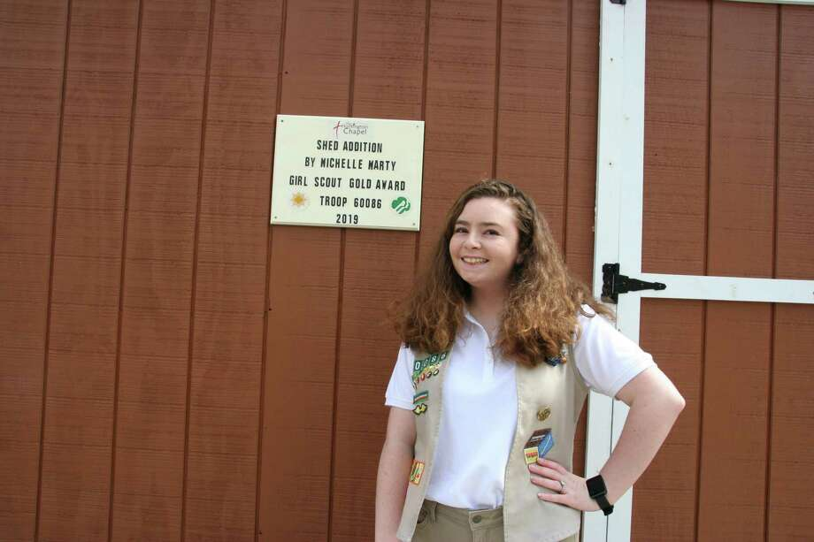 Michelle Marty, a 2020 Shelton High graduate, earned Girl Scout Gold Award for her work putting an addition on a storage shed at The Huntington Chapel. Photo: Contributed Photo / Connecticut Post