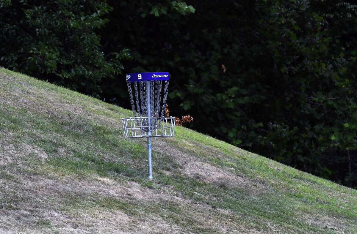 A disc golf hole on Troy's new nine-hole course at Prospect Park on Monday Aug. 3, 2020, in Troy, N.Y. Disc golf is played much like golf. However, instead of a ball and clubs, players use a flying disc or Frisbee with the objective of completing each hole in the fewest throws. (Will Waldron/Times Union)