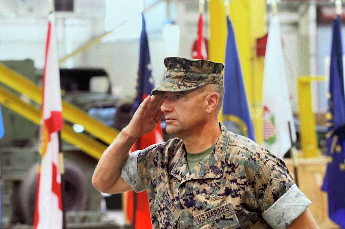 Sergeant Schmitt retired about a month ago after 30 years of service in the Marine Corps.