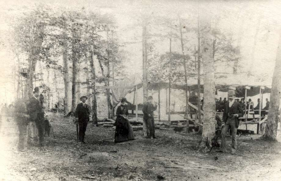 A bowery, as the picnic grounds in the woods were known, located near Newland. Photo: (Manistee County Historical Museum Photo)