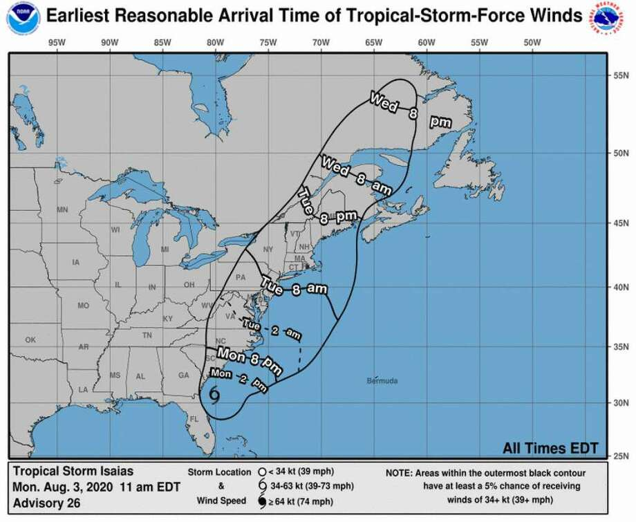 Earliest reasonable arrival time of winds from Isaias. Photo: Photo: Nhc.noaa.gov