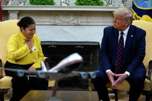 Army Spc. Vanessa Guillen's mother Gloria Guillen, left, speaks as she meets with President Donald Trump in the Oval Office of the White House on Thursday, July 30, in Washington.  A reader is not surprised by the high percentage of women who are sexually harassed in the military, and says women are the ones who can help.