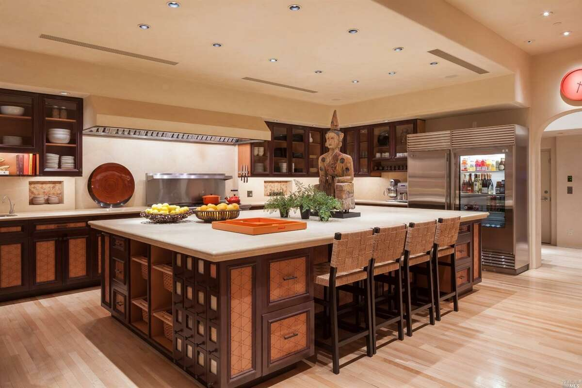 The chef's kitchen is spacious with state-of-the-art appliances.