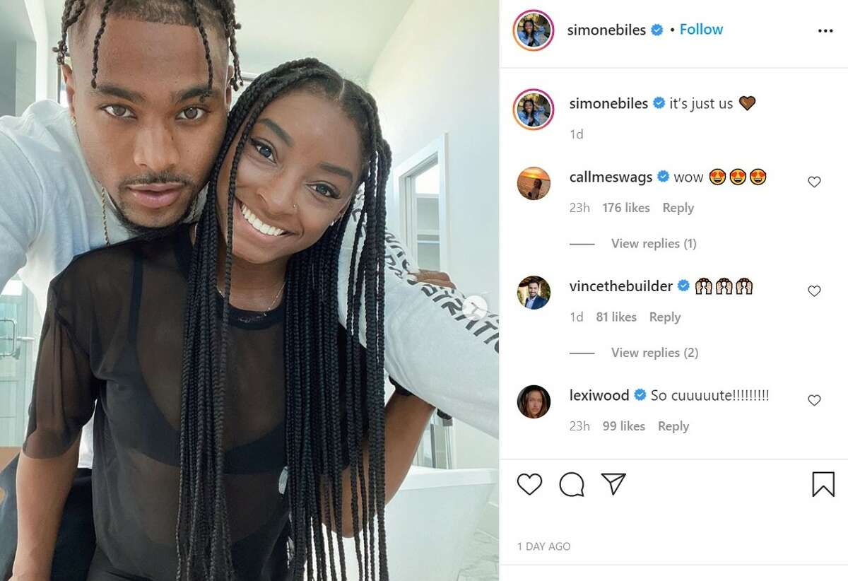PHOTOS: More of Simone Biles and Jonathan Owens together Simone Biles made it Instagram official with photos of her and new boyfriend Jonathan Owens, who plays safety for the Houston Texans.