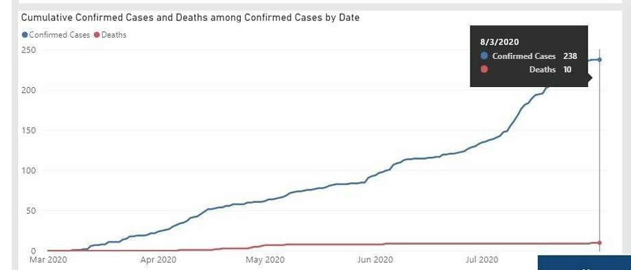 Midland County's cumulative cases and deaths as of Monday, Aug. 3, 2020. (Screenshot/Michigan.gov)
