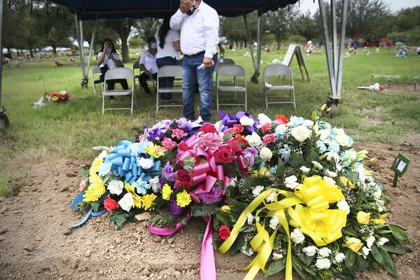 Francisco Romero wipes away tears next to his mother Ninfa Romero's grave. Ninfa, who died of COVID-19, was buried by her family at Garden of Angels Cemetery in Mission, Texas, on Wednesday, July, 29, 2020.