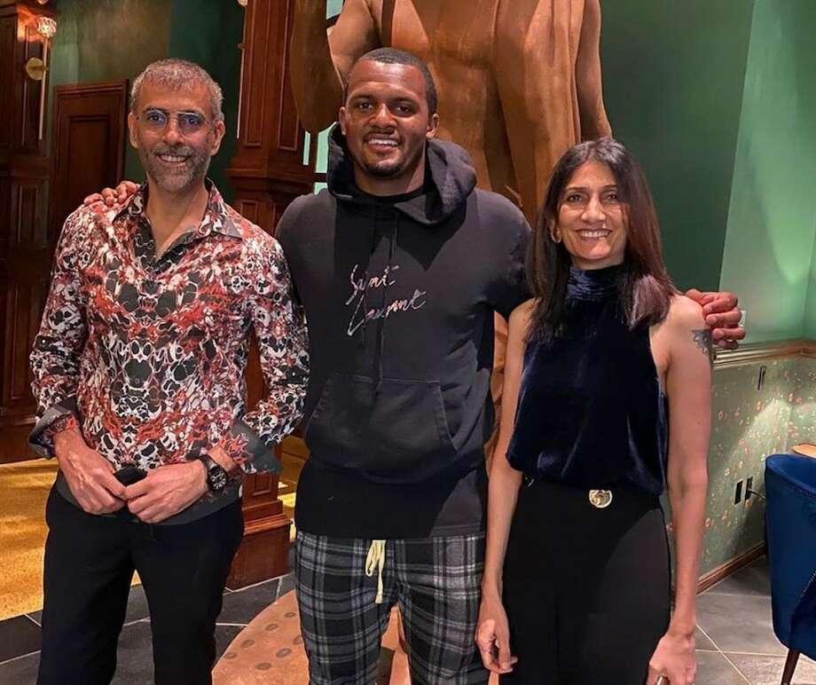 Deshaun Watson and Musaafer owners Mithu and Shammi Malik. Photo: Courtesy