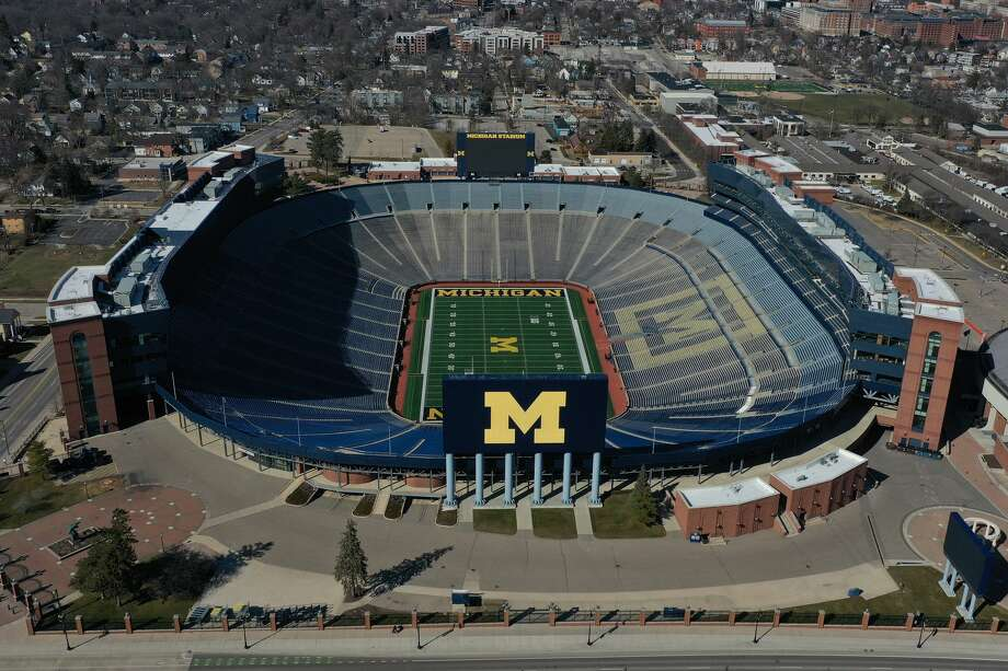 Michigan Stadium, home of the annual Battle at the Big House prep football games, is seen here in a March 15, 2020 aerial photo. Photo: Getty Images